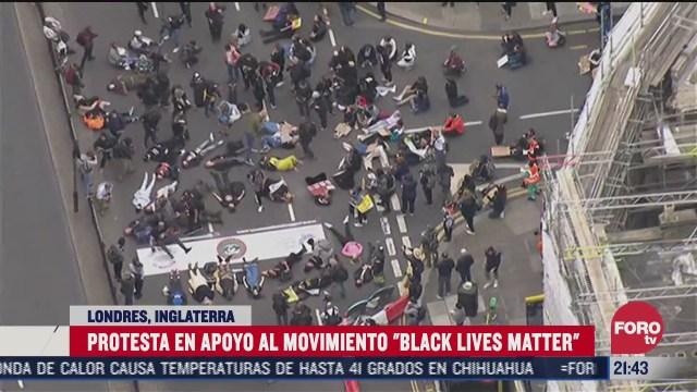 marchan en londres en apoyo al black lives matter