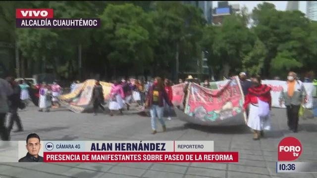 presencia de manifestantes sobre paseo de la reforma en cdmx