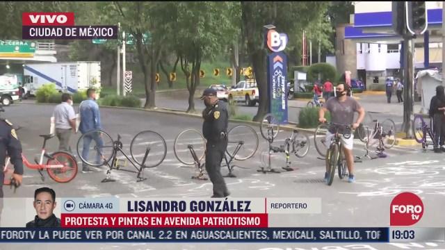 Protestan en Avenida Patriotismo de la cDMX por muerte de ciclista