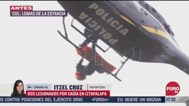 rescatan a dos personas tras resbalar y caer al volcan tecuatzin en iztapalapa