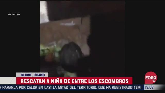 rescatan a nina bajo escombros que dejo la explosion en beirut