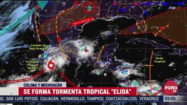 se forma la tormenta tropical elida en las costas de colima y michoacan