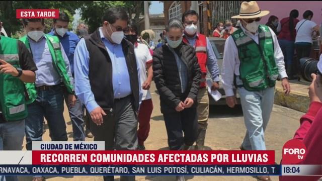sheinbaum recorre zonas afectadas por lluvias en xochimilco
