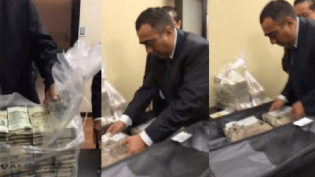 funcionarios del senado mexicano reciben fajos de dinero, captura de pantalla