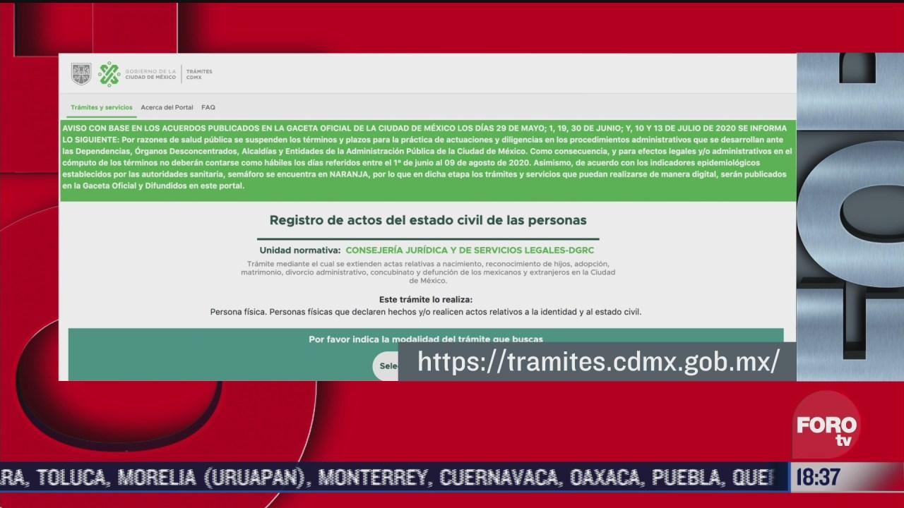 tramites ante el registro civil de cdmx pueden realizarse por internet