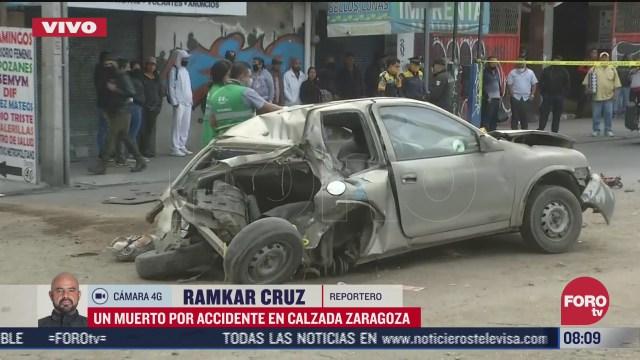 un muerto por accidente vehicular en calzada zaragoza cdmx