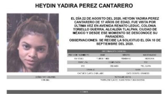 Activan Alerta Amber para localizar a Heydin Yadira Pérez Cantarero. (Foto: @FiscaliaCDMX)