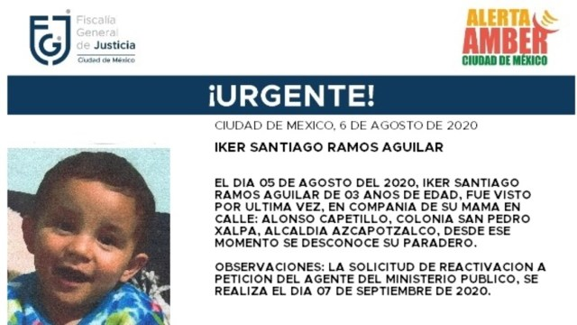 Activan Alerta Amber para localizar a Iker Santiago Ramos Aguilar