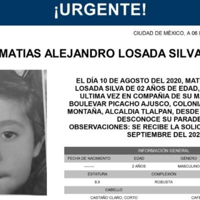 Activan Alerta Amber para localizar a Matías Alejandro Losada Silva