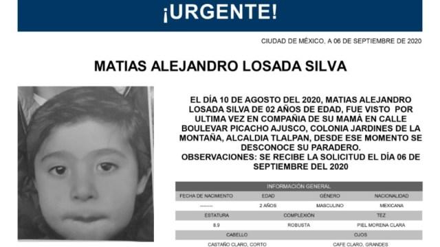 Alerta Amber para localizar a Matías Alejandro Losada Silva