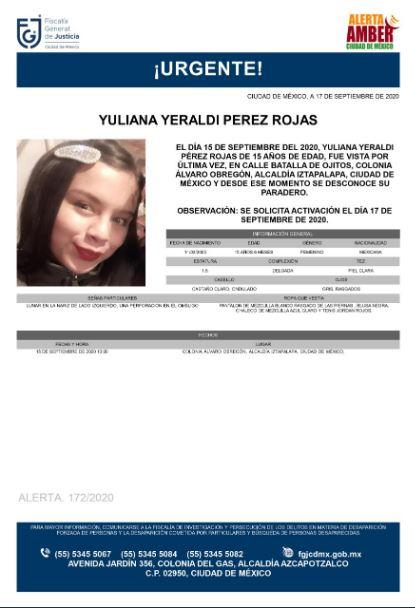 Activan Alerta Amber para localizar a Yuliana Yeraldi Pérez Rojas