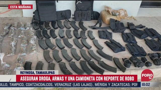 aseguran armamento y droga en tamaulipas