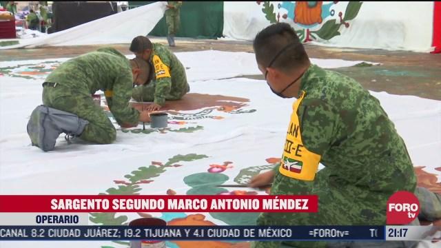 fabricación de banderas de Méxio por el ejecito mexicano