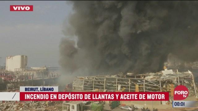 asi se ve el fuerte incendio en almacen de llantas y aceite en beirut