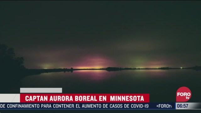 captan en video aurora boreal en minnesota estados unidos