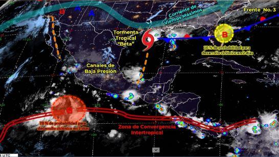 Mapa que muestra los sistemas meteorológicos del domingo 20 de septiembre