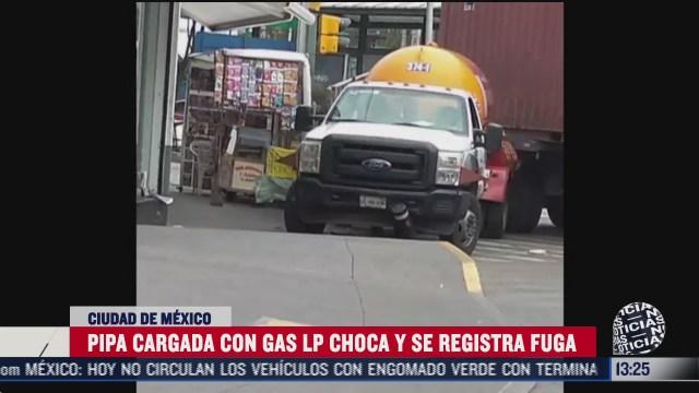 choca pipa de gas contra trailer y provoca fuga azcapotzalco