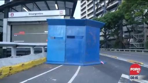 cierran y protegen estacion insurgentes del metrobus cdmx