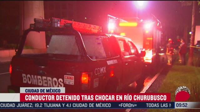conductor pierde el control de su vehiculo sobre rio churubusco en cdmx