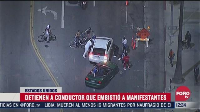 detienen a conductor que embistio a manifestantes en eeuu