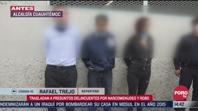detienen a presuntos delincuentes por narcomenudeo y robo