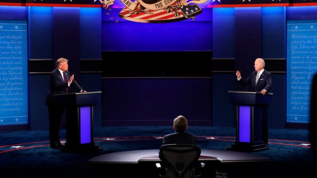 Donald Trump y Joe Biden en debate, con Chris Wallace