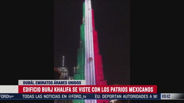 el burj khalifa el edificio mas alto del mundo se ilumina con los colores de mexico