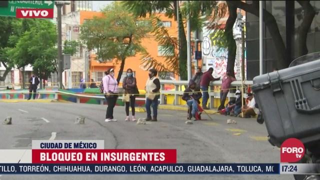 manifestantes bloquean glorieta de los insurgentes