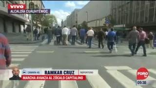 marcha de transportistas avanza al zocalo capitalino
