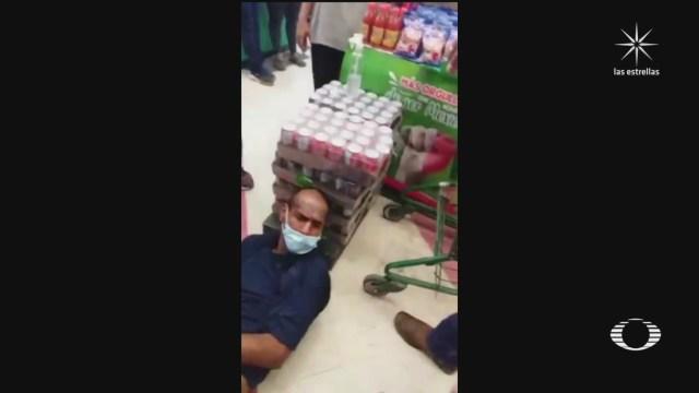 mujeres someten a ladron que intento robar una tienda en piedras negras