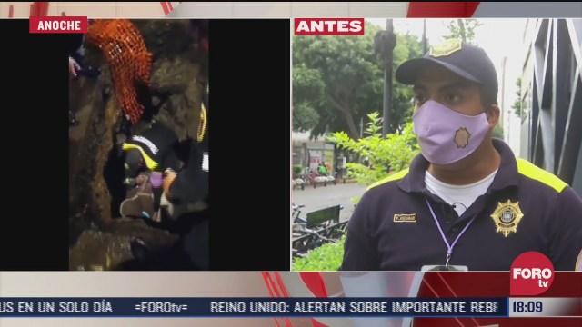 policia narra como fue el rescate de senora que cayo a zanja en reforma