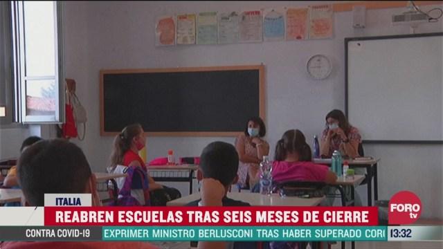 reabren escuelas tras seis meses de cierre por pandemia en italia