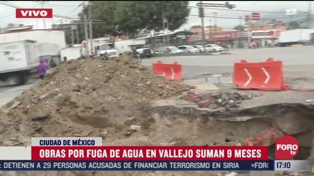 reportan obras inconclusas por fuga de agua en vallejo cdmx