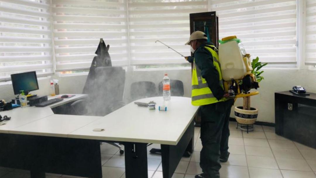 Sanitización de las oficinas de la Sanitización de las oficinas de la Guardia Nacional ubicadas en la alcaldía Cuajimalpa en la Ciudad de México