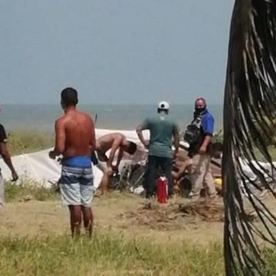 Se desploma avioneta en playas de Tecolutla, Veracruz; hay un muerto