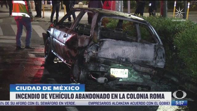 se incendia vehiculo en la colonia roma en cdmx