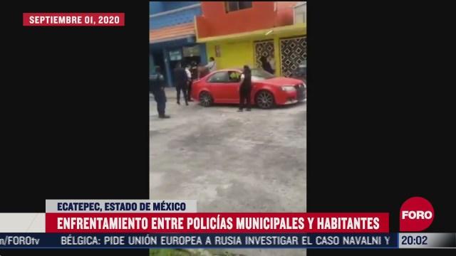 enfrentamiento entre policías y habitantes de Ecatepec en la colonia Padrera