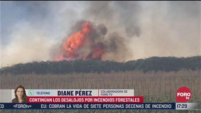 siguen desalojos en california por incendios forestales