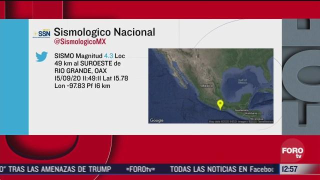 sismo de magnitud 4 3 se registra en rio grande oaxaca