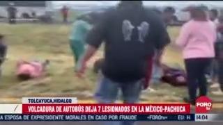 vuelca autobus de pasajeros en la mexico pachuca