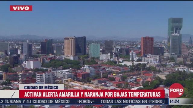 activan alerta amarilla y naranja por bajas temperaturas en la ciudad de mexico