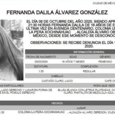 Activan Alerta Amber para localizar a Fernanda Dalila Álvarez González