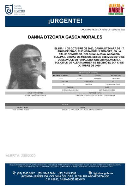 Activan Alerta Amber para localizar a Danna Dtzoara Gasca Morales