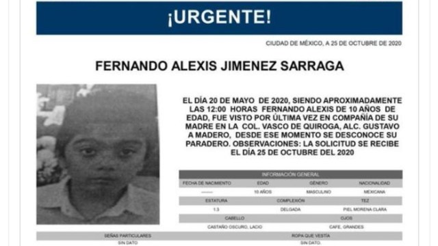 Activan Alerta Amber para localizar a Fernando Alexis Jiménez Sarrag