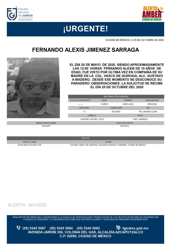 Activan Alerta Amber para localizar a Fernando Alexis Jiménez Sarraga