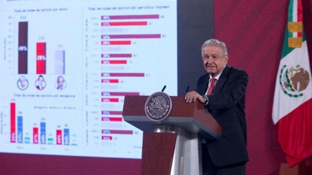Andrés Manuel López Obrador durante la conferencia de prensa matutina.