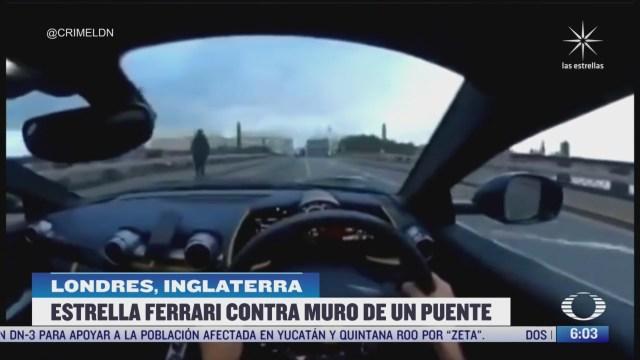automovilista choca ferrari contra muro de un puente