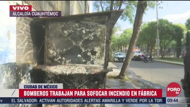 bomberos sofocan incendio en una fabrica en la alcaldia cuauhtemoc