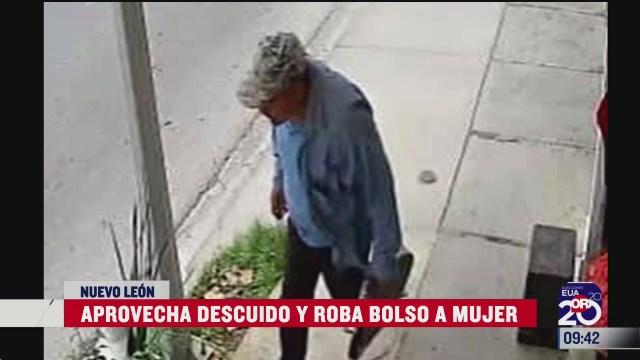 captan en video a hombre que roba bolso a mujer