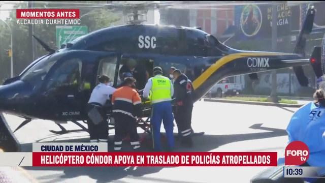 helicoptero condor apoya en traslado de policias atropellados en cdmx